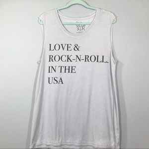 """Chaser """"love and rock and roll"""" tank top"""